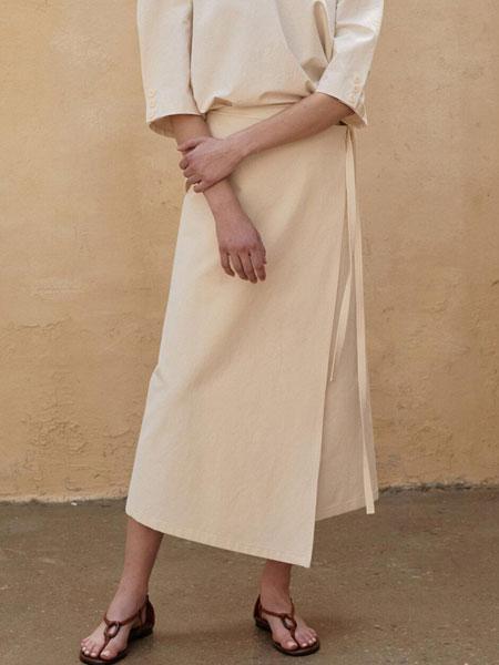 AEER国际品牌品牌2020春夏经典不对称围囊绑带装饰后开叉长款高腰