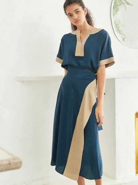 AKRO国际品牌品牌2020春夏撞色边拼接短袖半身裙真丝套装_蓝色+