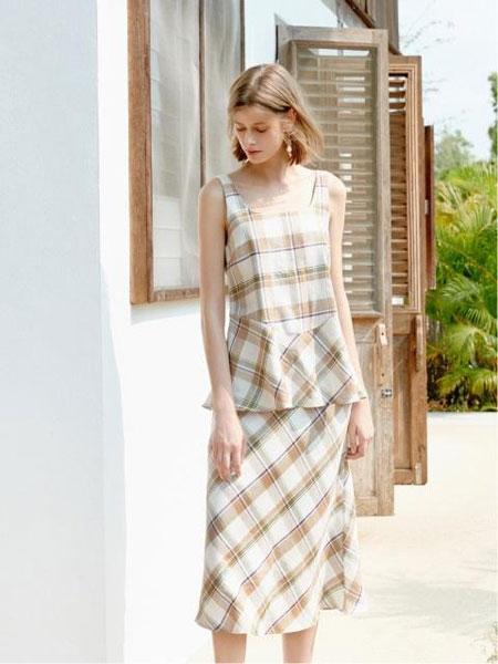AKRO国际品牌品牌2020春夏亚麻格纹方领背心半身裙套装_浅棕色