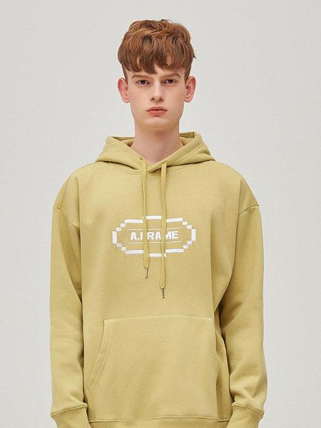 ANOTHER FRAME国际品牌品牌2019秋冬宽松椭圆形LOGO字母刺绣男女同款加绒连帽卫衣_暗绿色
