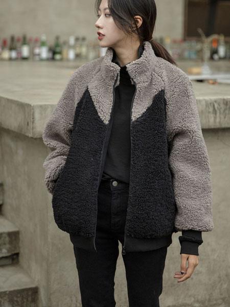 独外女装品牌2019秋冬新款毛呢拼接色外套