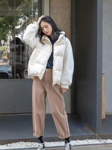 独外女装品牌2019秋冬新款纯色薄棉羽绒服