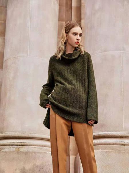 欧点女装品牌2020春夏新款长袖长款毛衣