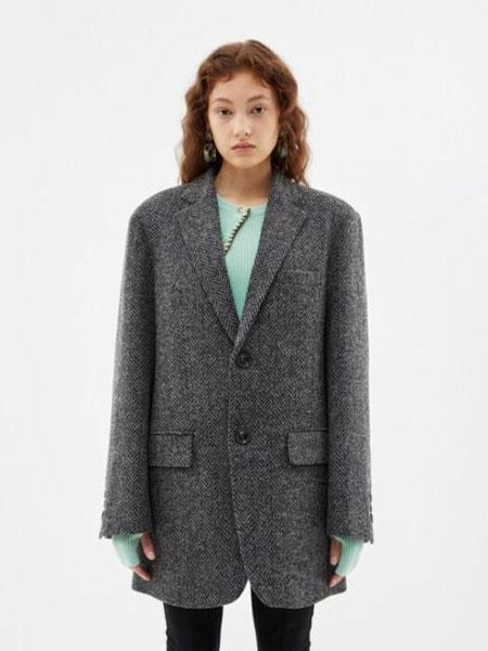 Andersson Bell国际品牌品牌2019秋冬宽松格纹围巾装饰女士双面连帽大衣_灰色