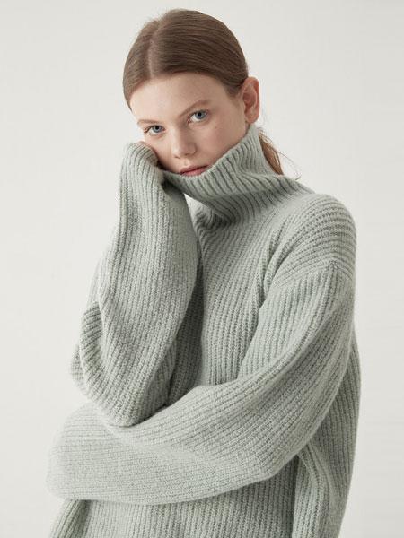 BEMUSEMANSION国际品牌品牌2019秋冬羊驼高领毛衣-薄荷