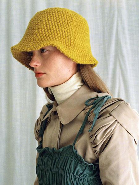 AWESOME NEEDS国际品牌品牌2020春夏圆顶窄檐粗呢男女同款盆帽_黄色