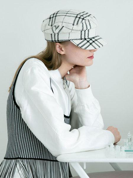 AWESOME NEEDS国际品牌品牌2020春夏经典帅气毛呢男女同款海军帽_白色格纹