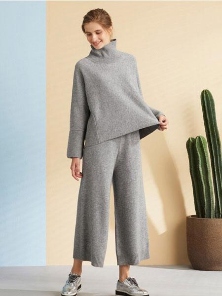 GTS 女装品牌2019秋冬新款灰色毛衣套装