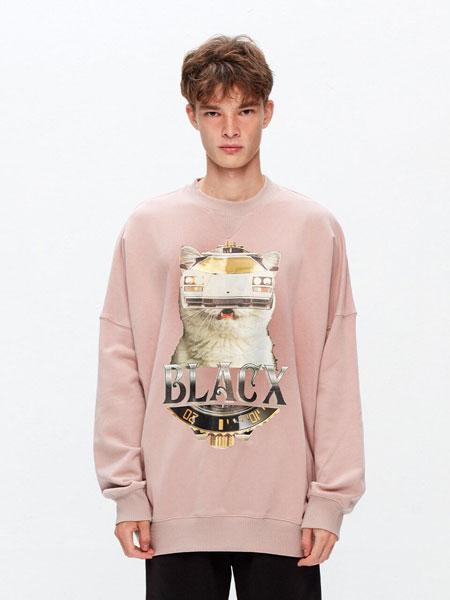 BLACX国际品牌品牌2020春夏宽松图案印染男女同款圆领卫衣(CAT 2)_粉色