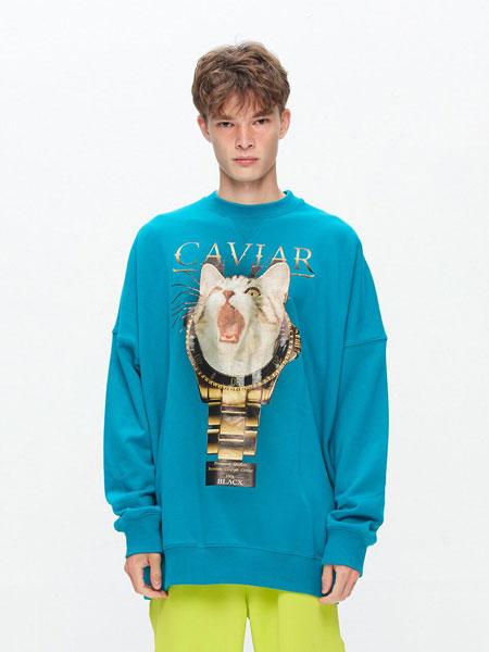 BLACX国际品牌品牌2020春夏宽松图案印染男女同款圆领卫衣(CAT 3)_天蓝色