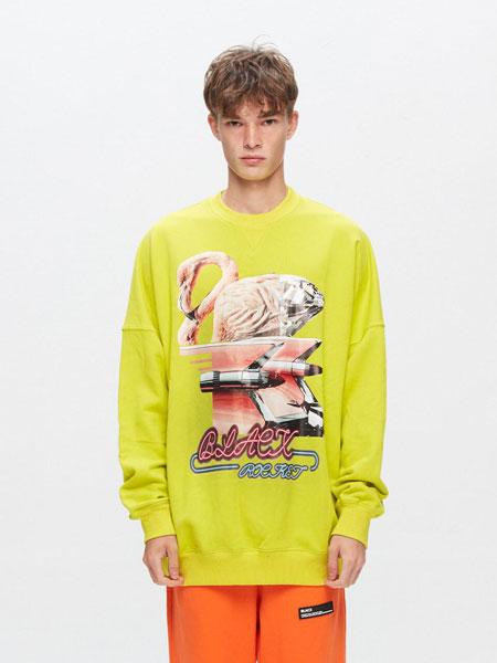 BLACX国际品牌品牌2020春夏宽松图案印染男女同款圆领卫衣_黄绿色