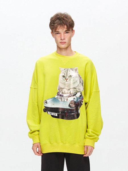 BLACX国际品牌品牌2020春夏宽松图案印染男女同款圆领卫衣(CAT 1)_黄绿色