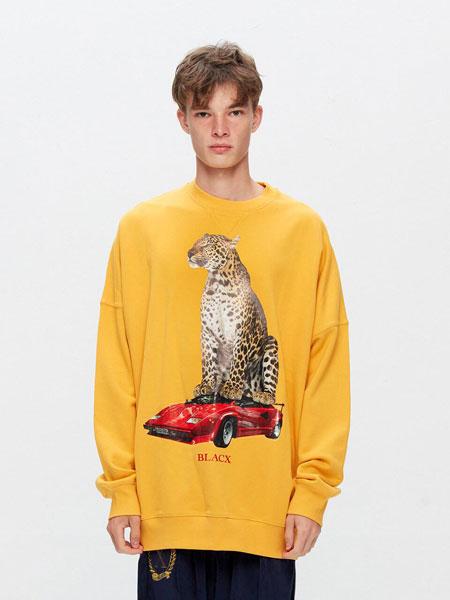 BLACX国际品牌品牌2020春夏宽松图案印染男女同款圆领卫衣(PANTHER)_黄色