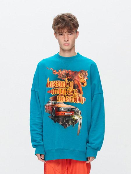 BLACX国际品牌品牌2020春夏宽松图案印染男女同款圆领卫衣(FOX)_天蓝色