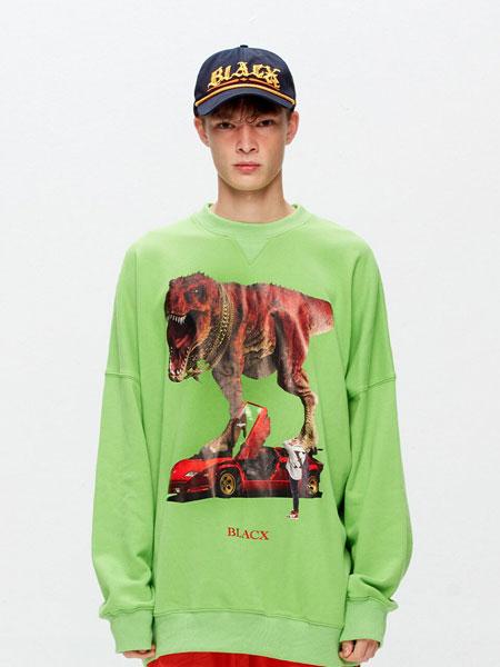 BLACX国际品牌品牌2020春夏宽松图案印染男女同款圆领卫衣(DINOSAUR 2)_绿色