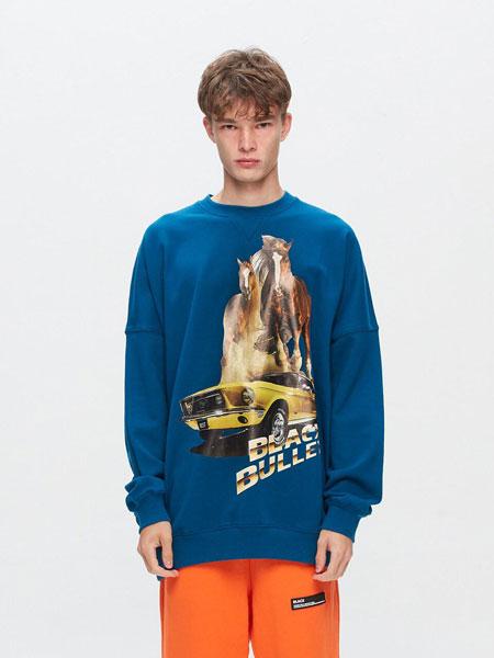 BLACX国际品牌品牌2020春夏宽松图案印染男女同款圆领卫衣 (HORSE)_蓝色