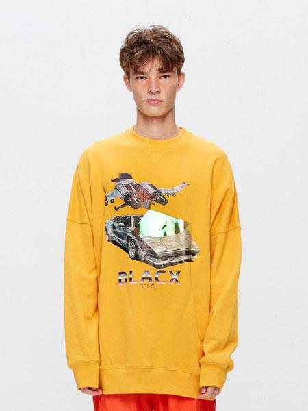 BLACX国际品牌品牌2020春夏宽松图案印染?#20449;?#21516;款圆领卫衣(DINOSAUR 1)_黄色