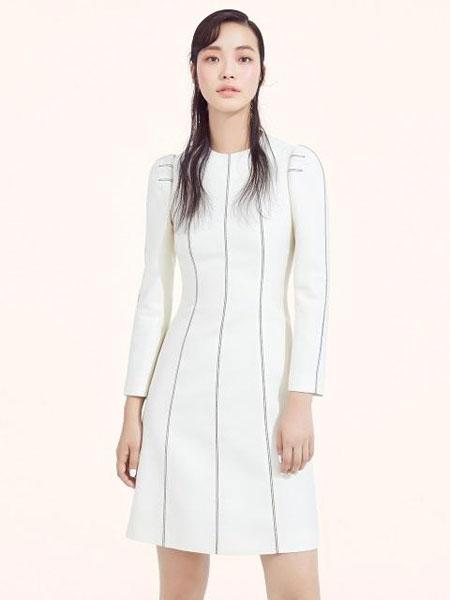 AVOUAVOU国际品牌2019秋冬修身收腰车缝线线条设计长袖短款连衣裙_白色