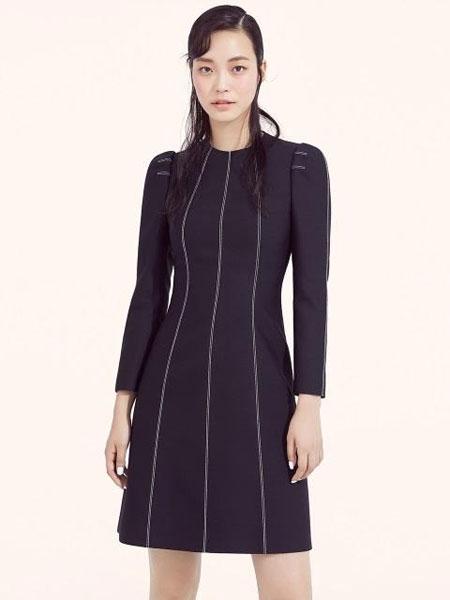 AVOUAVOU国际品牌2019秋冬修身收腰车缝线线条设计长袖短款连衣裙_黑色