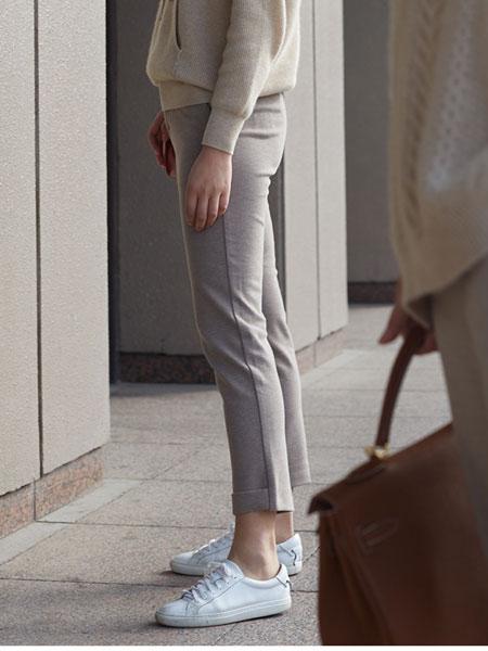 斯庆高娃2019新款女士长裤小脚裤九分裤腰带时尚宽松直筒裤西装