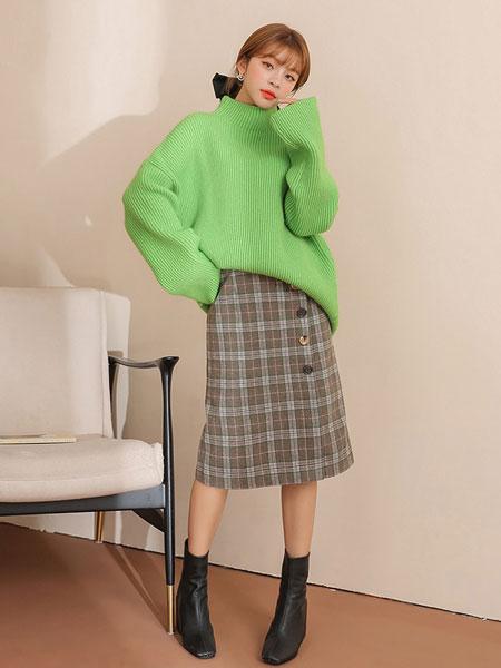 chuu日系高腰半身裙女2019秋冬季新款韩版中长款直筒格子毛呢裙子