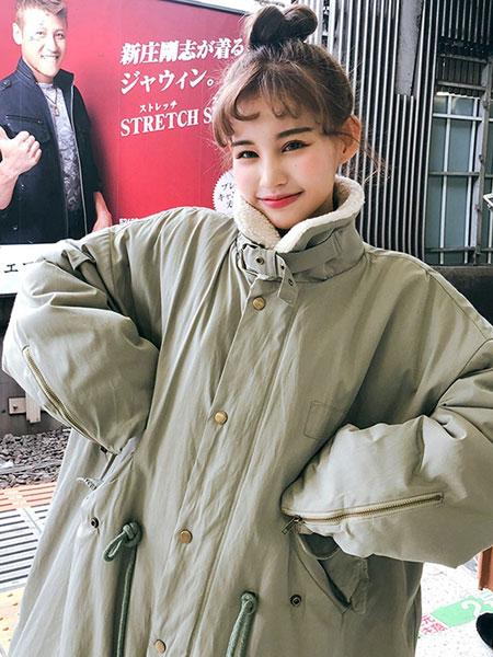chuu冬季大版棉衣女潮ins超火工装2019年冬装小个子加厚长款外套