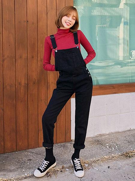 chuu高腰牛仔背带裤女显瘦显高洋气减龄2019秋冬季新款垂感长裤子
