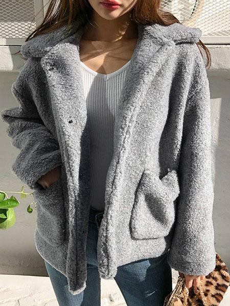 chuu灰色仿羊羔毛外套女2019年冬季潮ins超火个性保暖纯色仿皮草