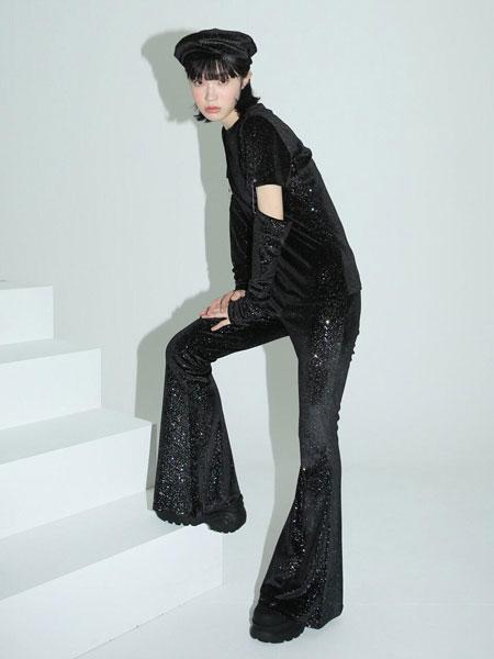 CLUT STUDIO国际品牌品牌2020春夏闪亮宇宙风女士小喇叭休闲裤_黑色