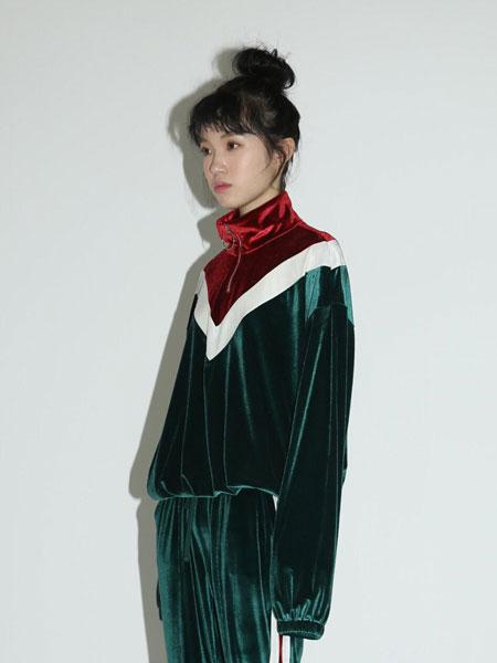 CLUT STUDIO国际品牌品牌2020春夏撞色拼接半开襟男女同款运动衫_绿色