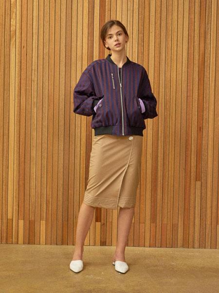 CLUE DE CLARE国际品牌品牌2020春夏经典条纹可逆女士ma-1飞行员夹克_紫色+绿色