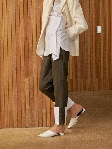 CLUE DE CLARE国际品牌品牌2020春夏休闲底端拼接拼色侧开叉腰部束带女士直筒裤_军绿色