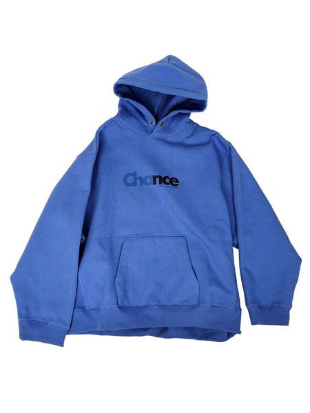 CHANCECHANCE国际品牌品牌2019秋冬宽松CHANCE字母印染女士加绒连帽卫衣_蓝色