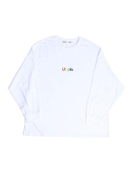 CHANCECHANCE国际品牌品牌2019秋冬宽松彩色UTOPIA字母印染女士长袖T恤_白色