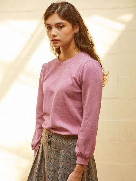 CORNERCOLUMN国际品牌2020春夏圆领缝褶细节女士长袖T恤_紫色/橙色/黑色