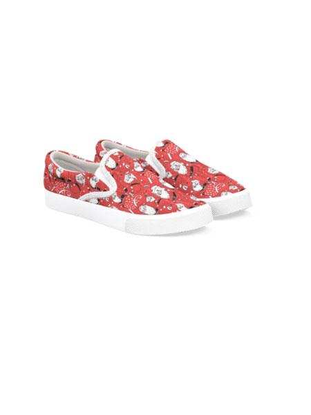 BUCKETFEET国际品牌品牌2020春夏新款红色印花滑板鞋