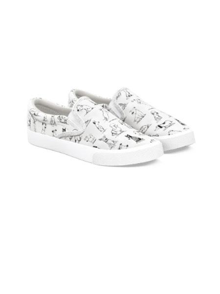 BUCKETFEET国际品牌品牌2020春夏新款白色印花滑板鞋