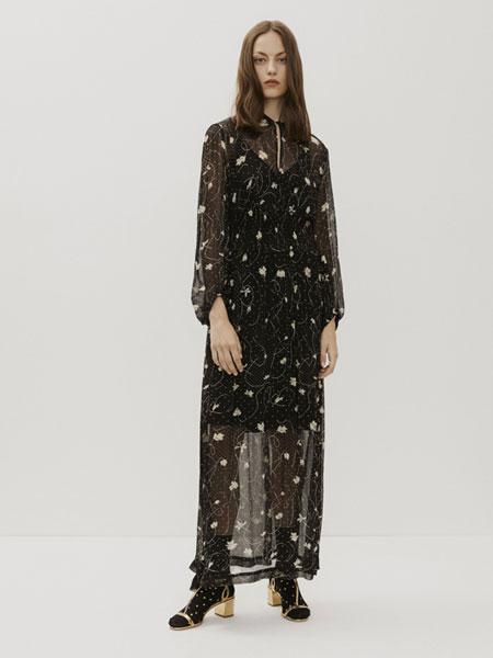 AMELLIE国际品牌品牌2020春夏新款印花透纱连衣裙