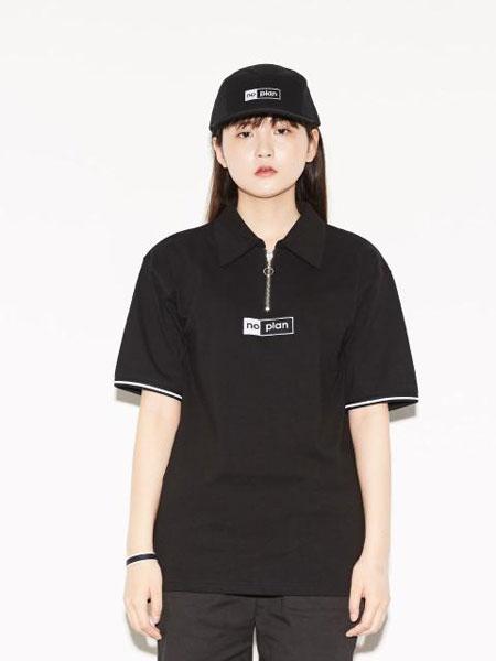 DON'T ASK MY PLAN国际品牌品牌宽松落肩字母刺绣图片印染男女同款圆领短袖T恤_黑色