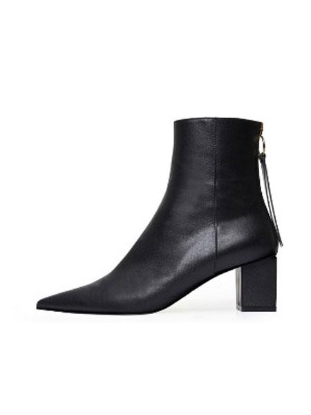 COMMEGEE国际品牌品牌2019秋冬新款纯色真皮尖头高跟鞋