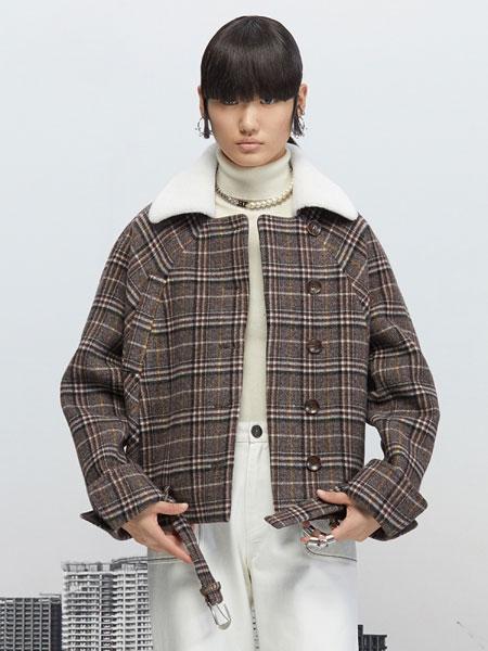 Even Vintage国际品牌品牌2019秋冬英伦风格纹毛领双面呢短大衣