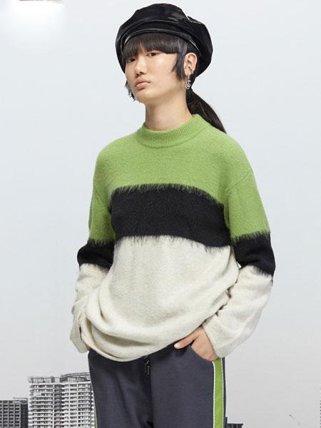 Even Vintage国际品牌品牌2019秋冬复古拼色牛油果绿拉毛套头毛衣
