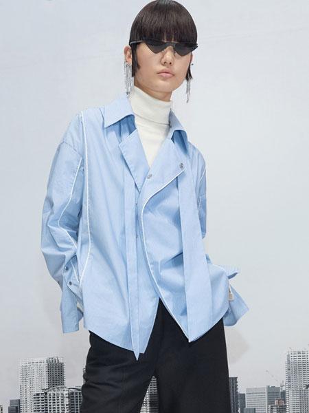 Even Vintage国际品牌2019秋冬酷女孩学院风连领带反光条衬衫