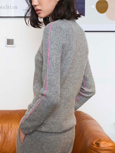 Flannels国际品牌高领撞色针织衫_灰色