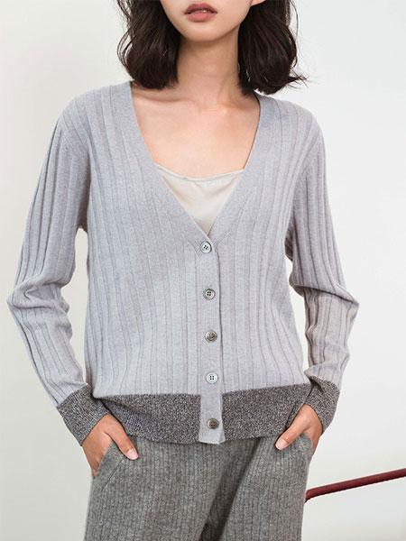 Flannels国际品牌品牌纯羊绒V领针织开衫_灰色