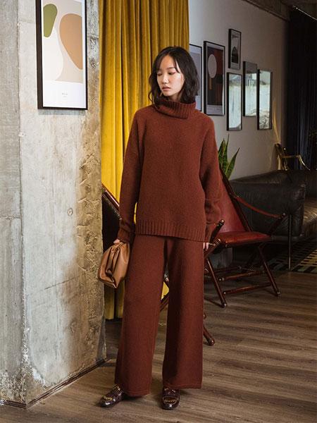 Flannels国际品牌品牌纯羊绒松紧腰红卡针织长裤