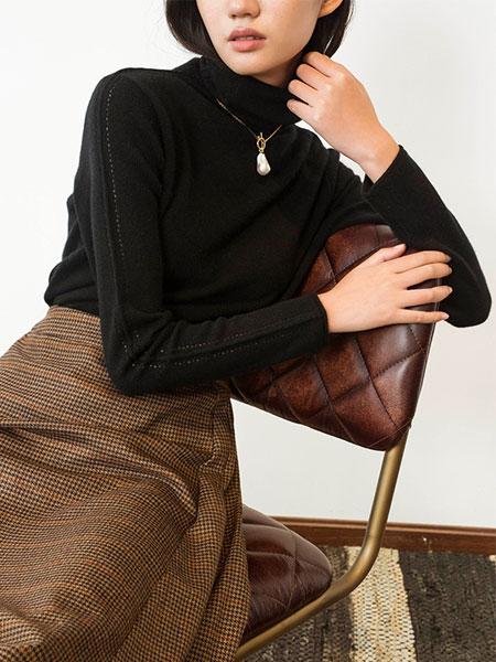 Flannels国际品牌品牌羊绒高领基础款打底针织衫_黑色