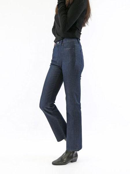 DUFFIE国际品牌品牌2020春夏复古水洗裤摆剪切女士中腰小脚牛仔裤_