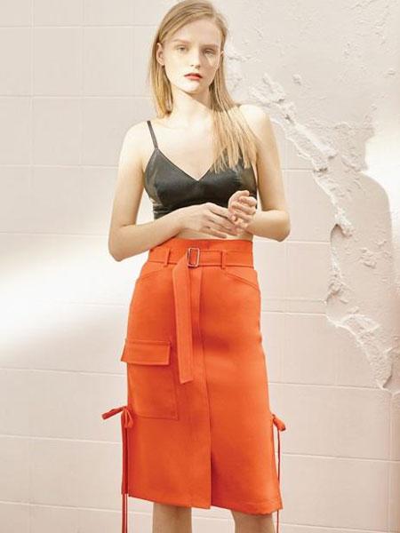 FACTORIAL LABEL国际品牌品牌2020春夏口袋装饰侧开叉高腰半身裙_橙色