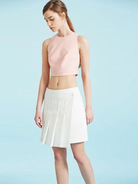 FACTORIAL LABEL国际品牌品牌2020春夏百褶拼接围裹式半身裙_白色